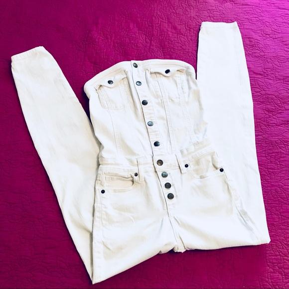34af83c7acc9 Guess Pants - Vtg Guess Jean s Stretch White Denim Jumpsuit